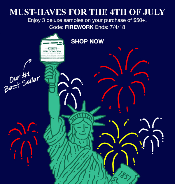 MUST-HAVES FOR THE 4TH OF JULY - Enjoy 3 deluxe samples on your purchase of $50 plus. - Code: FIREWORK Ends: 7/4/18 - SHOP NOW - ULTRA FACIAL CREAM - Our Number One Best Seller