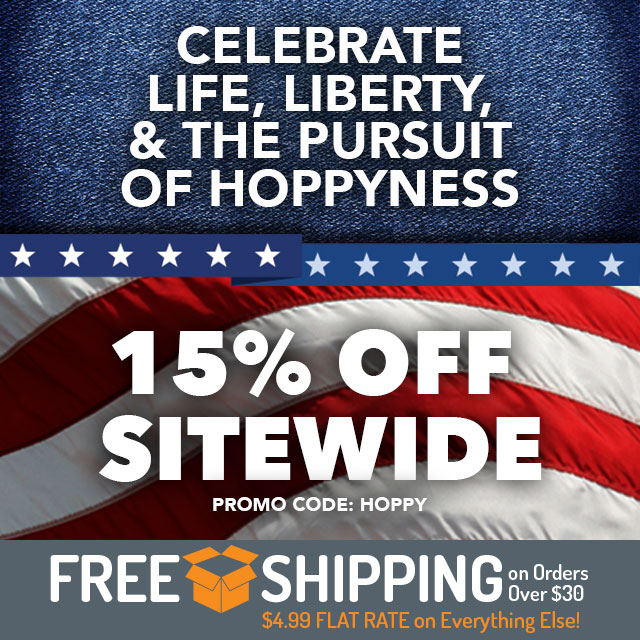 """15% off sitewide. Use code """"HOPPY"""" now through 11:59pm CST on 7/9/2018."""
