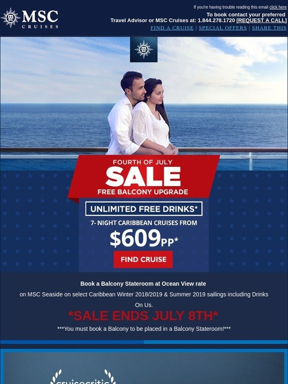 MSC Cruises: 4th of July Sale! Free Balcony Upgrades & Free