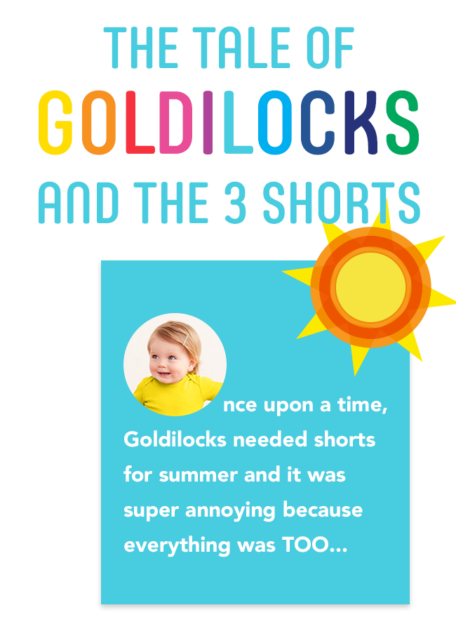 the tale of goldilocks and the 3 shorts: once upon a time, goldilocks needed shorts for summer and it was super annoying because everything was TOO...