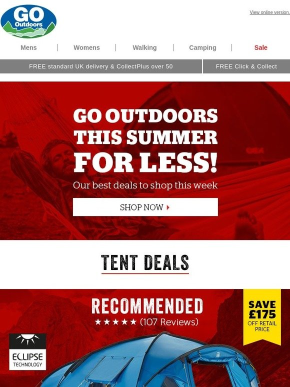 0819eabb414 Go Outdoors  Our best deals on tents   camping to buy this week