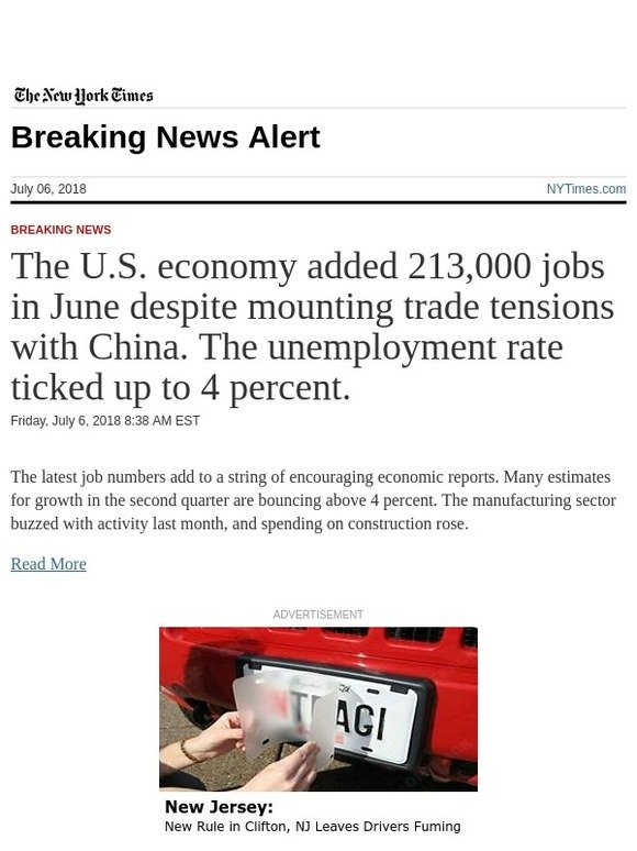 the new york times breaking news the u s economy added 213 000