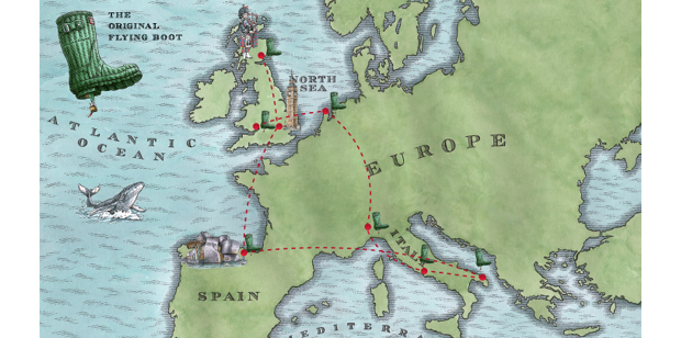 Map - Follow the boots on its travels!