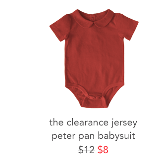 the clearance jersey peter pan babysuit