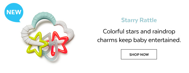 New | Starry rattle | Colorful stars and raindrop charms keep baby entertained. Shop Now
