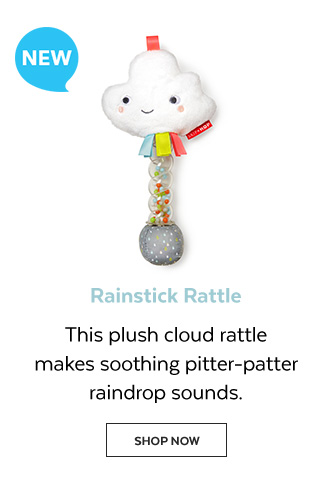 New | Rainstick rattle | This plush cloud rattle makes soothing pitter-patter raindrop sounds. Shop Now