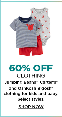 64bd1e1d8 60% off select Jumping beans, Carter's and OshKosh B'gosh clothing for kids