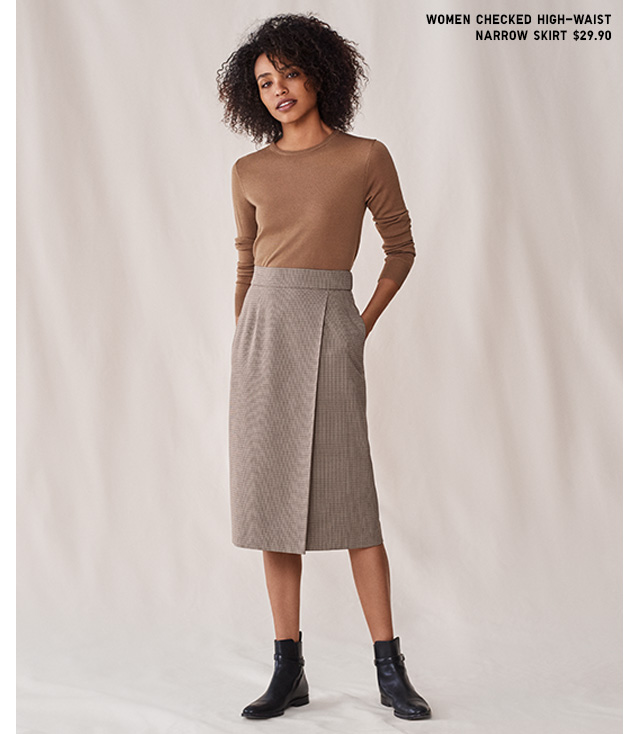 WOMEN CHECKED HIGH WAIST SKIRT