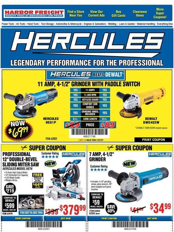 Harbor Freight: NEW PRODUCT ALERT: The Hercules Family is Growing