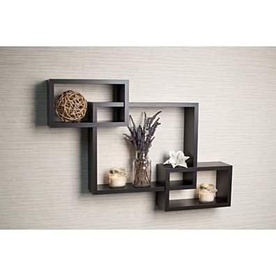 Danya B Intersecting Espresso Wall Shelf