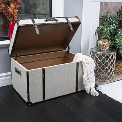 Clarkson Grey Upholstered Storage Trunk