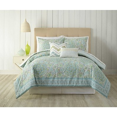 Stamped Indian Floral by Indigo Bazaar Trading Company 5 Piece Comforter Set