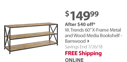W.Trends 60 x frame metal bookshelf