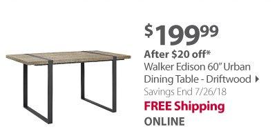 Walker Edison 60 Urban Dining Table