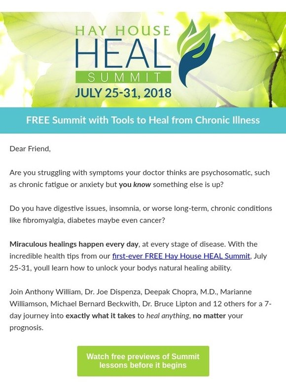 Hay House, Inc : Free Summit with Tools to Heal from Chronic Illness