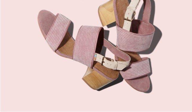 Light Mauve Corduroy Women's Poppy Sandals