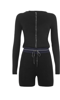 98cbfe69b7f Black silk knit hooded romper with lurex trim