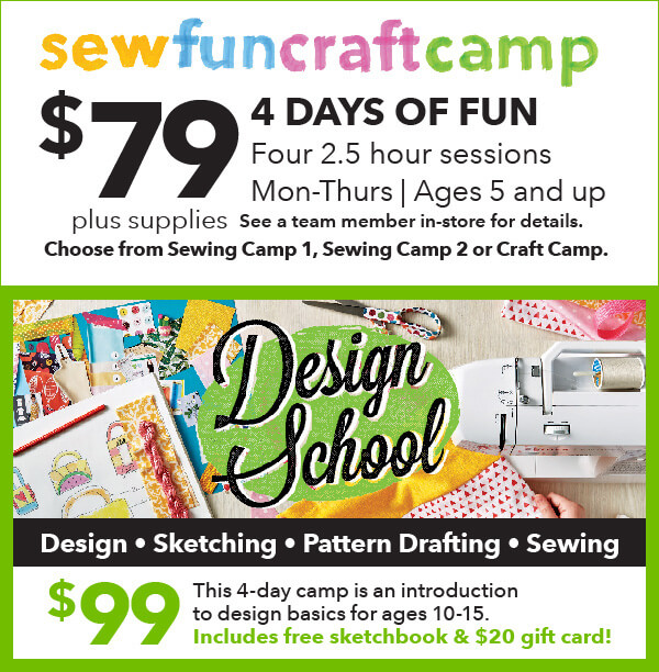 sewfuncraftcamp. 4 New Camps for Kids! starting at $79 each. 4 days of sewing, crafting and design. ENROLL NOW.