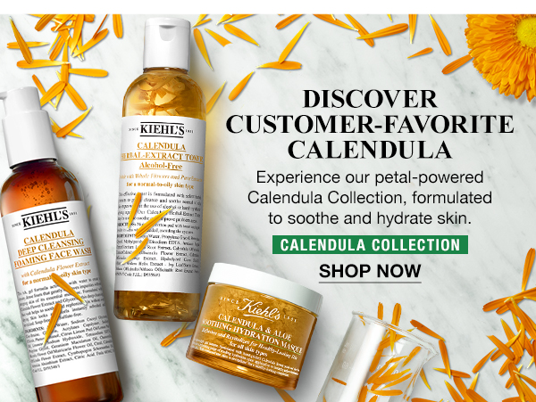 DISCOVER CUSTOMER-FAVORITE CALENDULA - Experience our petal-powered Calendula Collection, formulated to soothe and hydrate skin. - CALENDULA COLLECTION - SHOP NOW