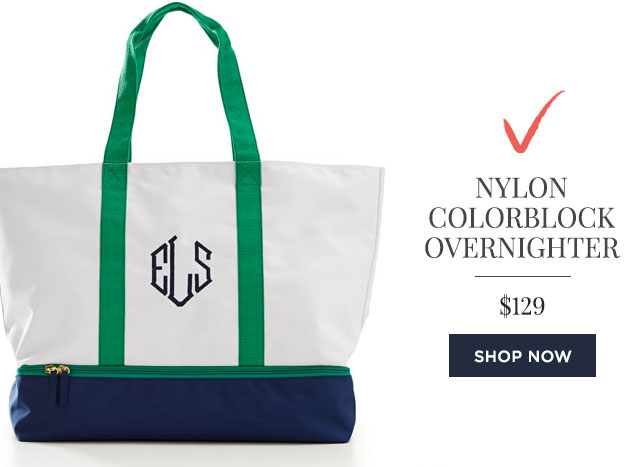 NYLON COLORBLOCK OVERNIGHTER - $129 - SHOP NOW