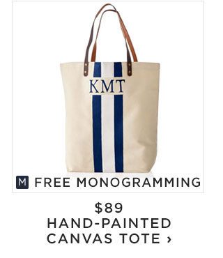 FREE MONOGRAMMING - $89 - HAND-PAINTED CANVAS TOTE