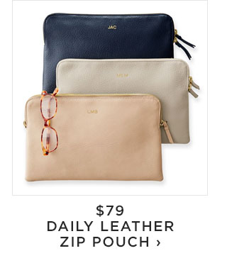 $79 - DAILY LEATHER ZIP POUCH
