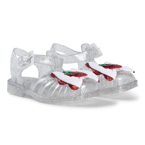 White Strawberry Glitter Jelly Shoes
