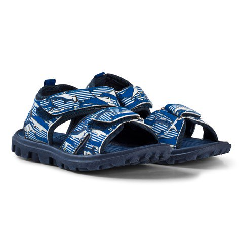 Joules Blue Shark and Stripe Printed Active Sandals
