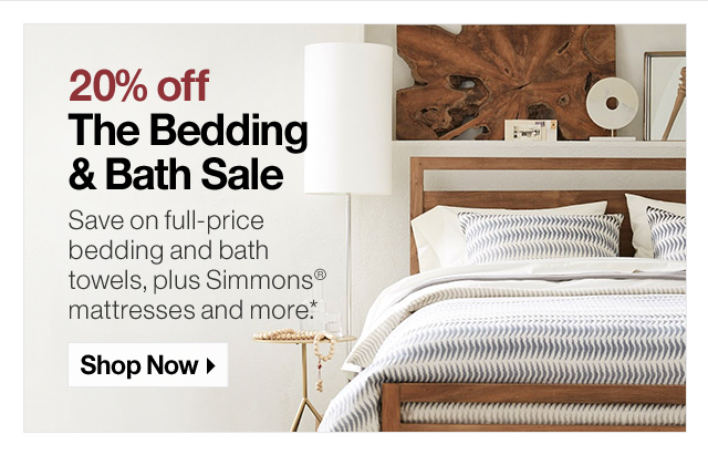 20% off The Bedding & Bath Sale