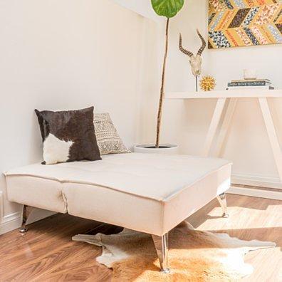 Carimote Contemporary Ivory Fabric Click Clack Chair/Ottoman