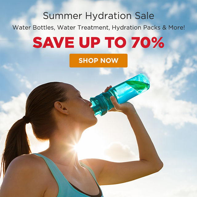 Summer Hydration Sale - Save up to 70% on water bottles, water treatment, hydration packs and more!