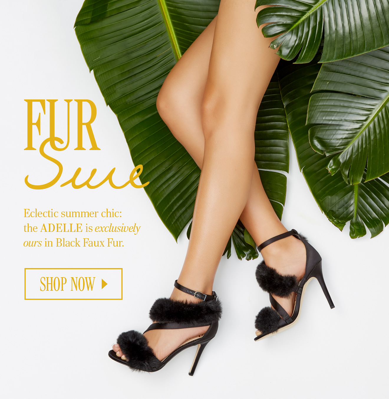 b43066bd0c02 Eclectic summer chic  the Adelle is exclusively ours in Black Faux Fur · ADELLE  FAUX FUR HEELED SANDAL