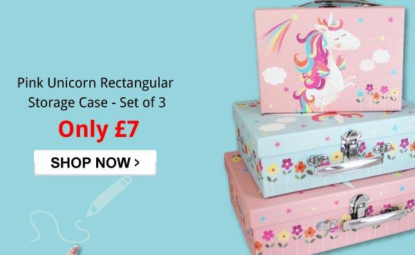 e1dd7176252 Pink Unicorn Rectangular Storage Case - Set of 3