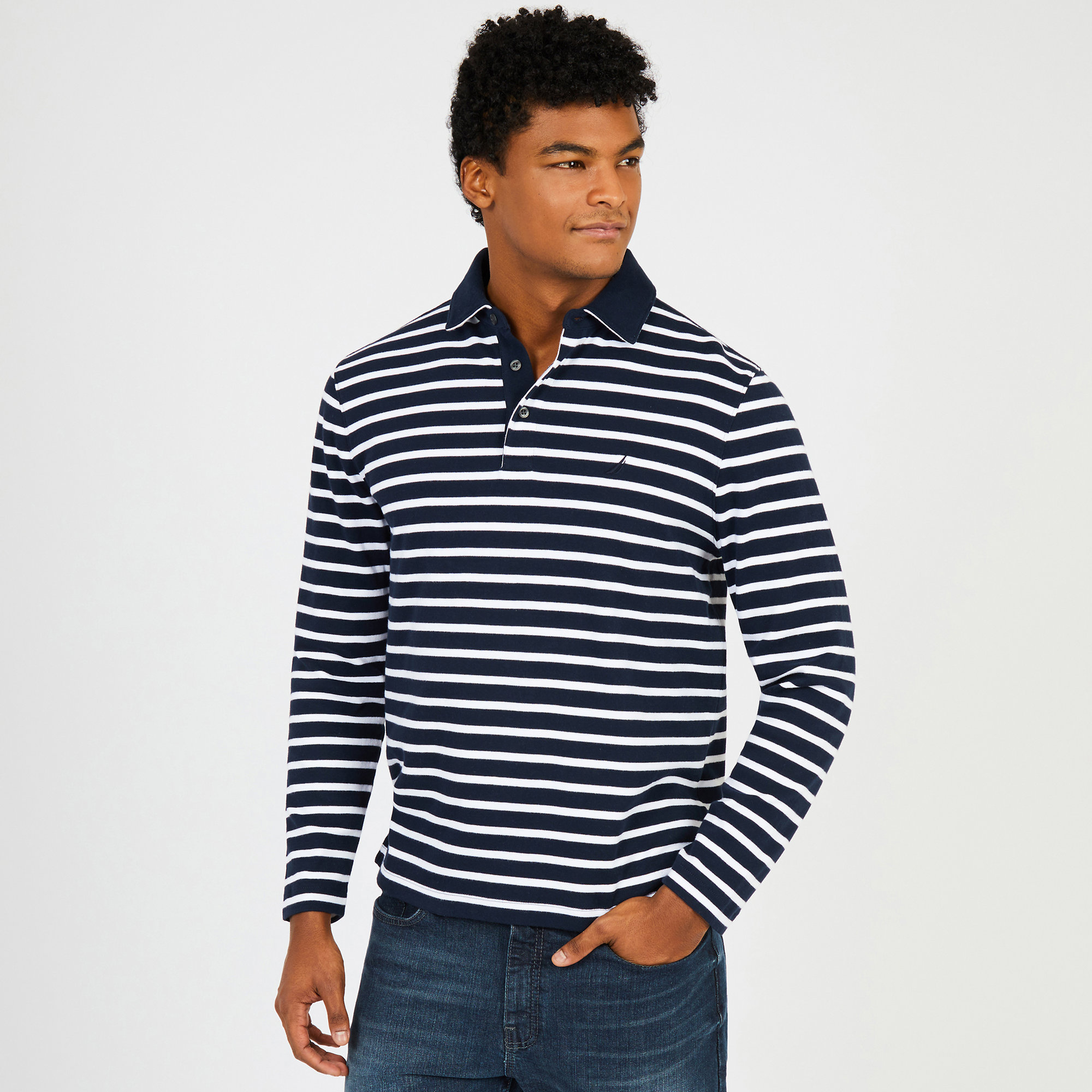 Sailor Stripe Long Sleeve Classic Fit Polo