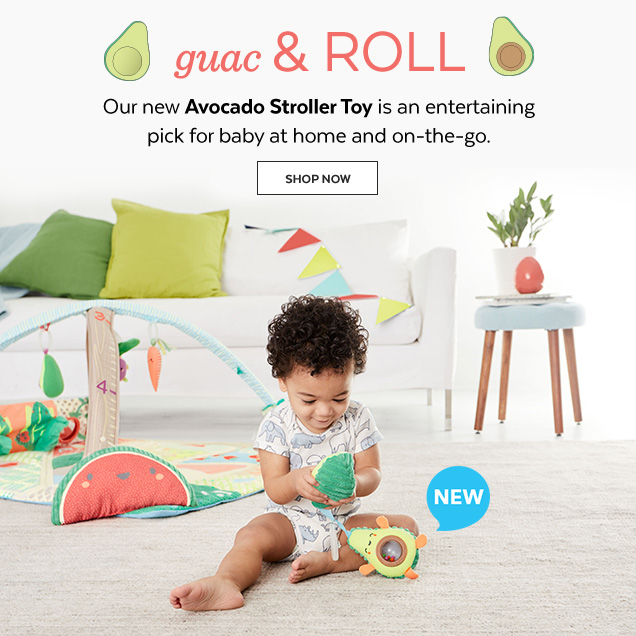 New | Gauc & Roll | Our new Avocado Stroller Toy is an entertaining pick for baby at home and on-the-go. Shop Now