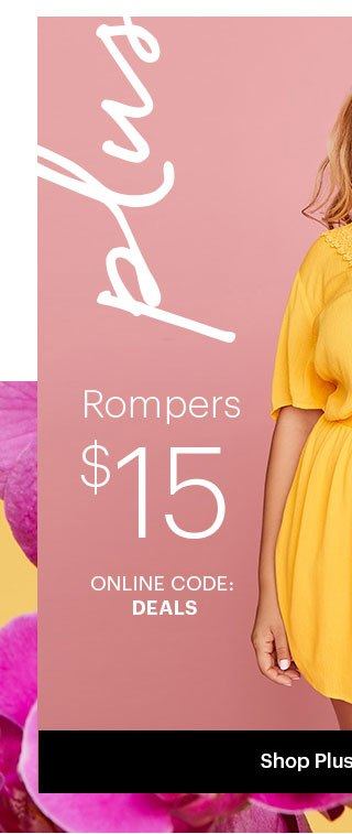 Charlotte Russe+ Plus Plus Rompers $15 Use code: DEALS Shop Plus Rompers