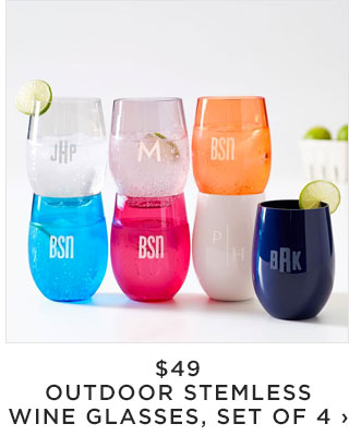 $49 - OUTDOOR STEMLESS WINE GLASSES, SET OF 4