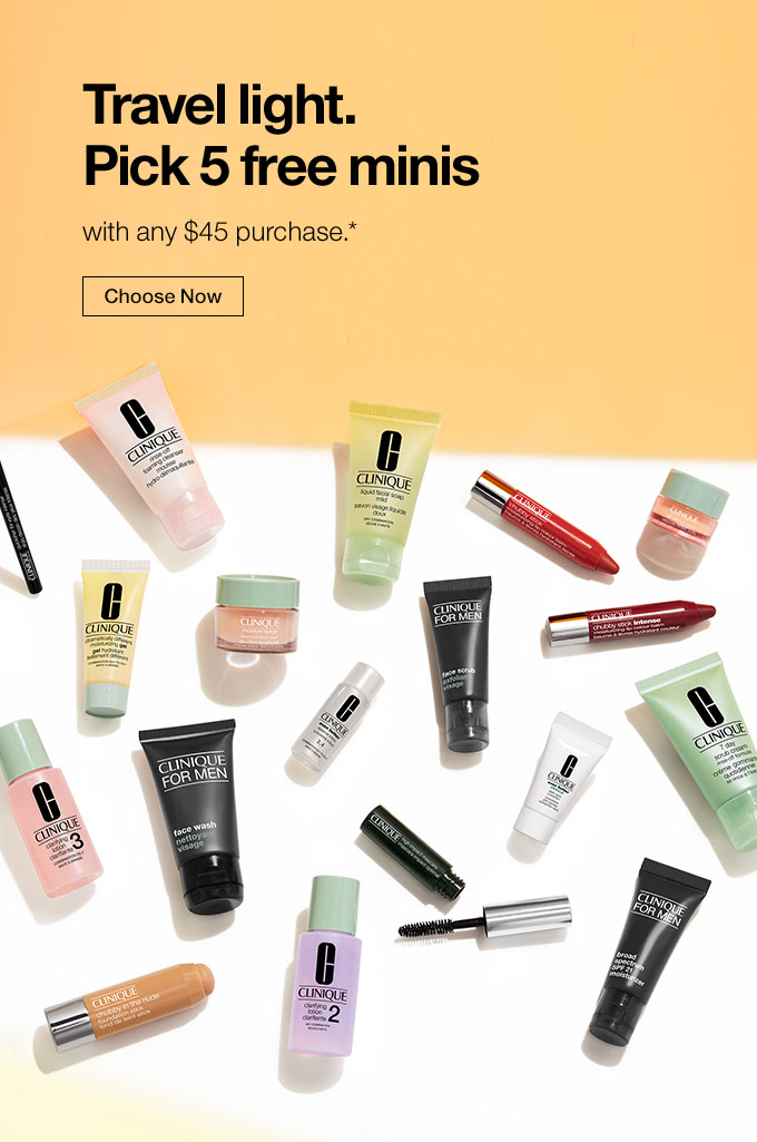 Pick 5 free minis starts now! With purchase.