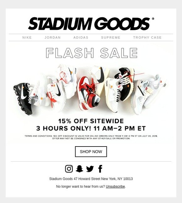 d61526617 Stadium Goods  Summer Friday Sale  15% Off For 3 Hours Only