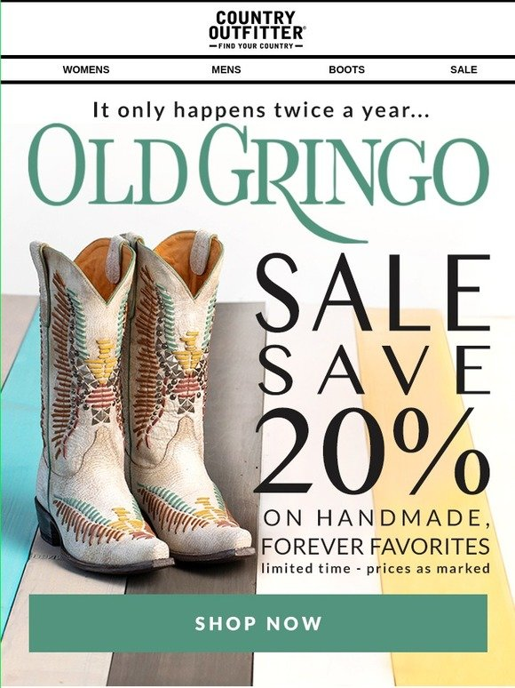 384604a5fe775 CountryOutfitter.com: 20% OFF: Old Gringo Handmade Boots!   Milled