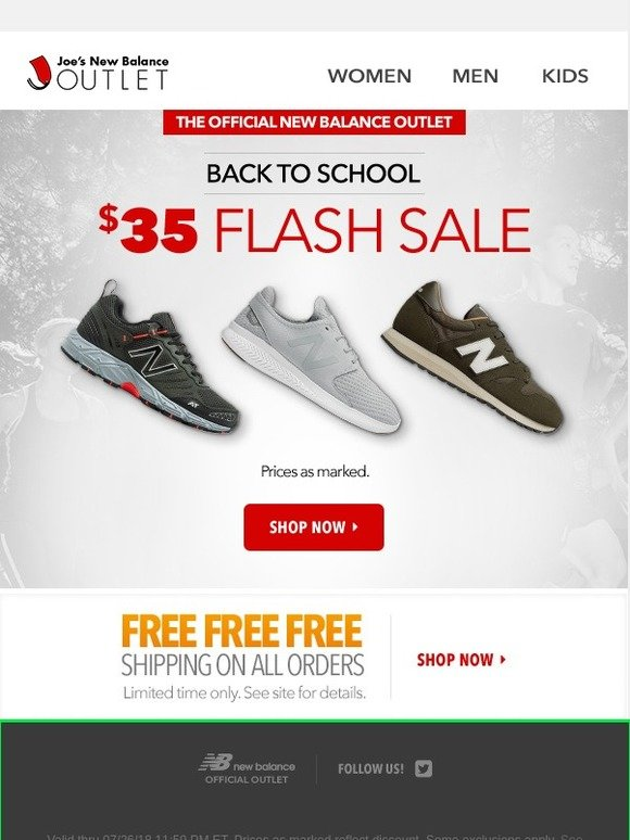 4cfb95a4171b3 Joe's New Balance Outlet: $35 Flash Sale l Back to Cool | Milled