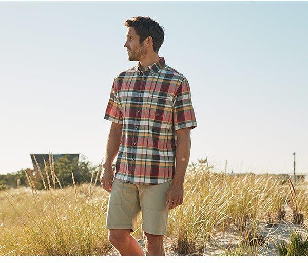8c1b83027c5a6a Men's Timberline Short Sleeve Madras Plaid Shirt - 100% Organic Cotton