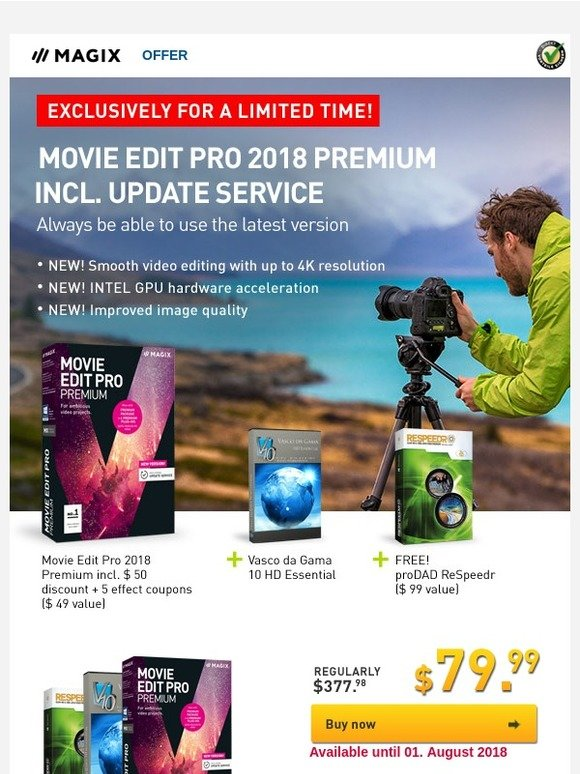 MAGIX Software: DISCOUNT OFFER! Movie Edit Pro 2018 Premium incl  12