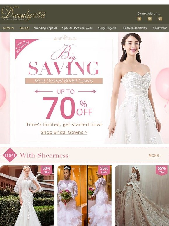 d6939bf3926 Dressilyme  70% Off! Big Saving On Most Desired Bridal Gowns