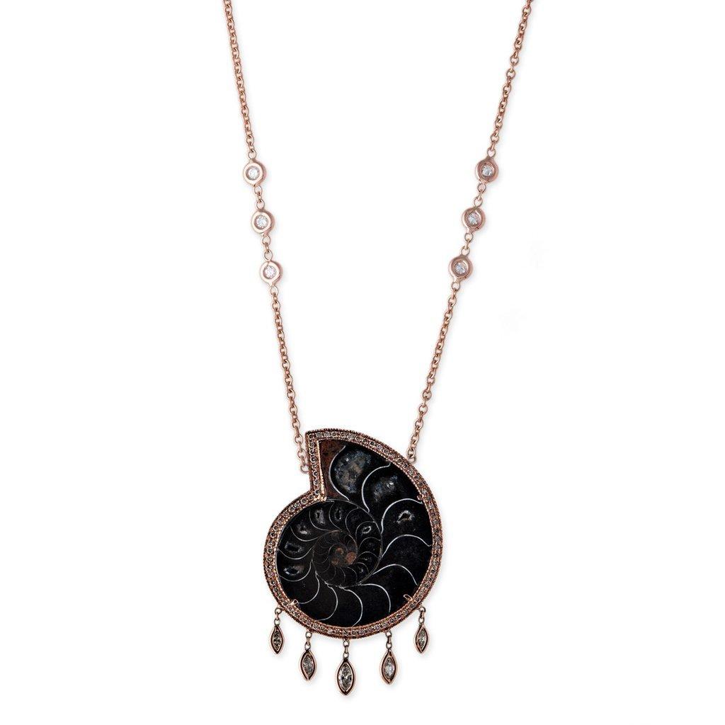 Image of Ammonite Marquise Shaker Necklace