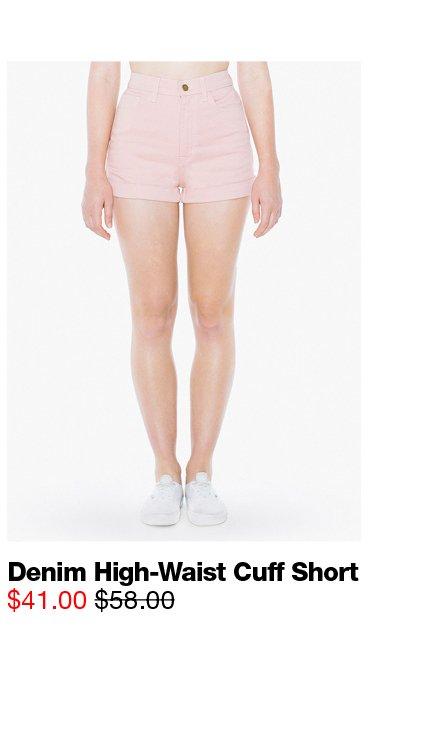 Denim High-Waist Cuff Short