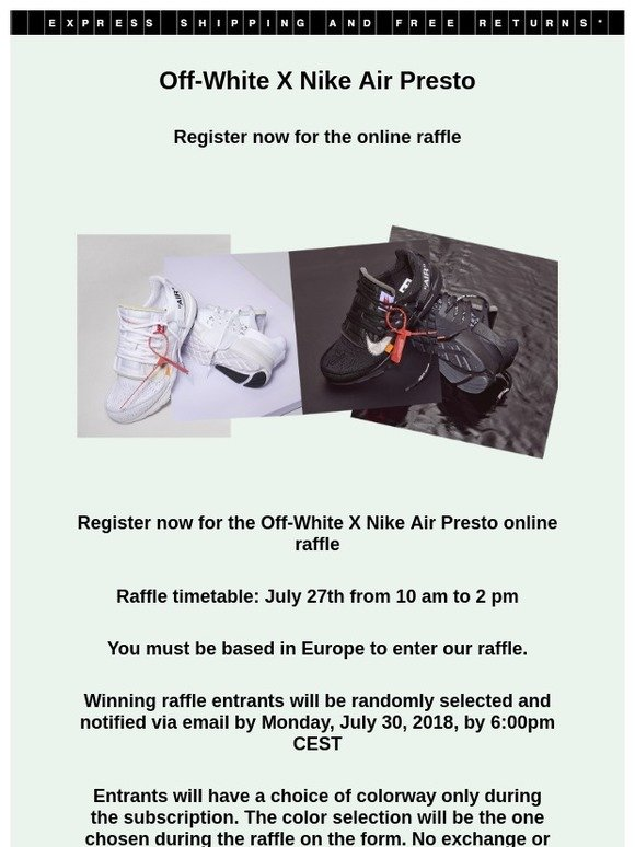 uk availability 339f9 899b1 Off-white Italy: Off-White ™ X Nike Air Presto: register now ...
