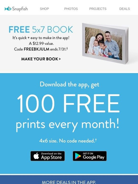 snapfish you have 1 free book 100 free prints waiting for you