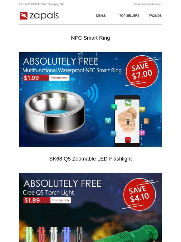 Zapals: NFC Smart Ring $1 99 Shipped