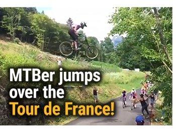 Mountain biker jumps over the Tour de France!